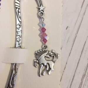 Castlebellgifts, Pewter Bookmark Pink Unicorn