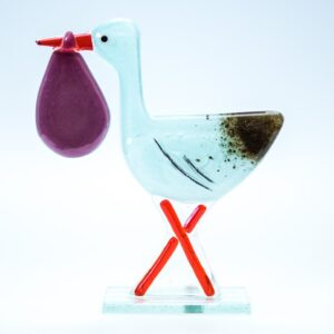 Milford Glass Stork Pink